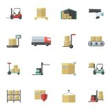 Warehouse Icons Flat Set Royalty Free Stock Photo