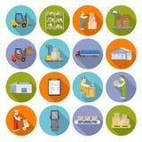 Warehouse Icons Flat Set Royalty Free Stock Images