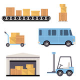 Warehouse Icons Flat Stock Image