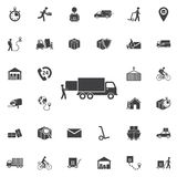 Warehouse icons: loading and unloading of goods royalty free illustration