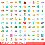 100 warehouse icons set, cartoon style. 100 warehouse icons set in cartoon style for any design vector illustration royalty free illustration