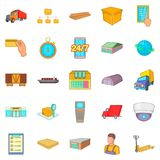 Warehouse icons set, cartoon style. Warehouse icons set. Cartoon set of 25 warehouse vector icons for web isolated on white background Stock Images