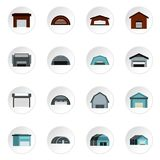 Warehouse icons set, flat style. Warehouse icons set. Flat illustration of 16 warehouse icons for web vector illustration