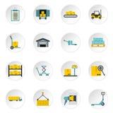 Warehouse icons set, flat style Stock Photos