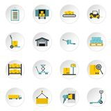 Warehouse icons set, flat style. Warehouse icons set. Flat illustration of 16 warehouse icons for web Royalty Free Illustration