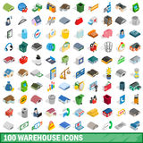 100 warehouse icons set, isometric 3d style Stock Photo
