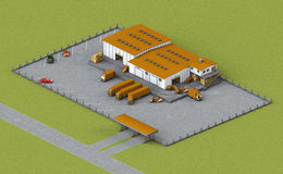 Warehouse In Isometric View Stock Photography