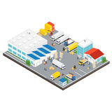 Warehouse Industrial Area Isometric Stock Image