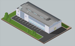 Warehouse Industrial building. Isolated vector 3D isometric concept. Warehouse Industrial area with seating for loading and unloading, shipping and delivery Stock Image