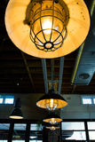 Warehouse industrial ceiling lights Royalty Free Stock Photo