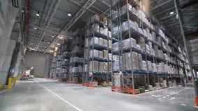 Warehouse industrial con las cajas Pequeñas impulsiones del camión del cargo de la carretilla elevadora al almacén almacen de metraje de vídeo