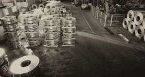 Warehouse industrial enterprise. The storage of steel coils of r. Ope, aerial view Stock Image