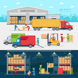 Warehouse infographic elements vector flat design. People sort items and send them to the consumer of service delivery Royalty Free Stock Photography