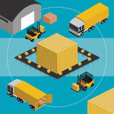 Warehouse infographic illustration. Isometric Warehouse logistic process. Vector infographics illustration Royalty Free Stock Images
