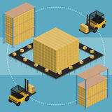 Warehouse infographic illustration. Isometric Warehouse logistic process. Vector infographics illustration Stock Image