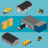 Warehouse infographic illustration. Isometric Warehouse logistic process. Vector infographics illustration stock illustration