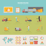 Warehouse infographics storage delivery shipping t Stock Photo
