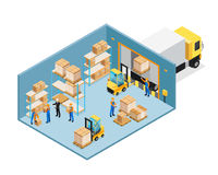 Warehouse Inside Isometric Composition. Including manager and workers, forklifts, shelves with goods, unloading cargo vector illustration royalty free illustration