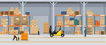 Warehouse Interior with Boxes On Rack And People Working. Flat vector and solid color style Logistic Delivery Service royalty free illustration