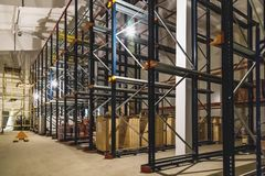 Warehouse interior with empty shelves Stock Photography