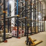 Warehouse interior with empty shelves Royalty Free Stock Photography