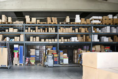 Warehouse. A warehouse interior with forklifts Stock Images