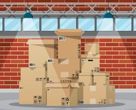 Warehouse interior with goods and container. Package boxes. Pile cardboard boxes set. Carton delivery packaging open and closed box with fragile signs. Vector stock illustration