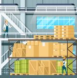 Warehouse Interior with Goods, Freight, Weight stock illustration