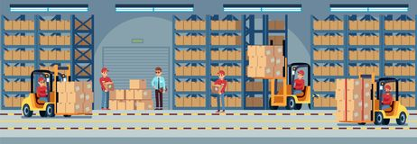 Warehouse interior. Industrial factory worker working in stockroom of storehouse. Forklift and delivery truck vector