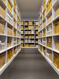 Warehouse interior with rows of shelves with boxes Stock Images