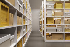Warehouse interior with rows of shelves with boxes Stock Photography