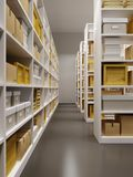 Warehouse interior with rows of shelves with boxes Stock Photo