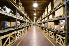 Warehouse Interior - ultra wide angle view. Stock Image