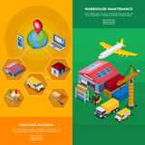 Warehouse Isometric Banners Royalty Free Stock Photos
