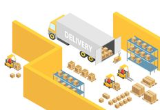 Warehouse isometric 3D warehouse interior map illustration with logistics transport and delivery vehicles. Loader. Forklift trucks, people and delivery boxes Stock Photos