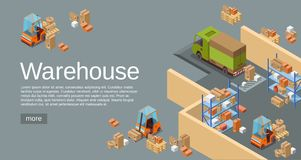 Warehouse isometric 3D vector illustration of modern industrial warehouse and logistics transportation and delivery. Warehouse isometric 3D vector illustration vector illustration