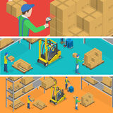 Warehouse isometric flat vector illustration. Royalty Free Stock Image