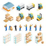 Warehouse Isometric Set. Including manager and workers, goods, trucks and forklifts, pallets and shelves isolated vector illustration Royalty Free Stock Photo