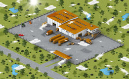 Warehouse in isometric view Stock Image
