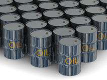 Warehouse of kegs with oil. Stock Images