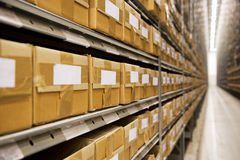 Warehouse. Large group of cardboard boxes in a warehouse Royalty Free Stock Photo