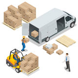 Warehouse. Loading and unloading from warehouse. Delivery and logistic, storage and truck, transportation industry. Vector isometric illustration vector illustration