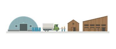 Warehouse logistic buildings vector illustration. Stock Photo