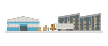 Warehouse logistic buildings vector illustration. Royalty Free Stock Photos