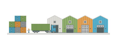 Warehouse logistic buildings vector illustration. Royalty Free Stock Images