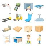 Warehouse logistic storage icons set cartoon style Stock Images