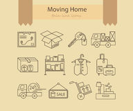 Warehouse logistic thin line icons. Royalty Free Stock Photo