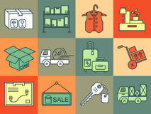 Warehouse logistic thin line icons. Royalty Free Stock Photos