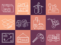 Warehouse logistic thin line icons. Stock Photos