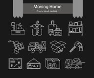 Warehouse logistic thin line icons. Stock Photo